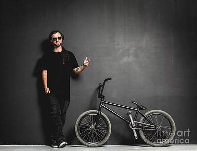 Photograph - Man Standing Next To His Bmx Bike, Pointing His Finger. by Michal Bednarek