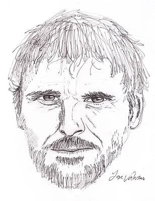 Face Drawing - Man Staring by M Valeriano