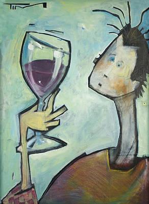 Painting - Man Swirls Wine by Tim Nyberg