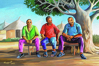 Painting - Man Talk by Anthony Mwangi