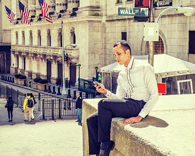 Photograph - Man Texting On Wall Street by Alexander Image