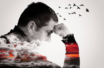 Man Thinking Double Exposure With Birds Art Print