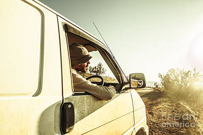 Park Holidays Photograph - Man Touring Australia In Van by Jorgo Photography - Wall Art Gallery