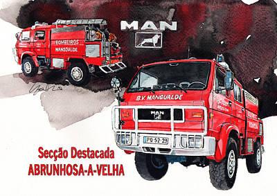 Vw Painting - Man-vw 4x4 Fire Engine by Yoshiharu Miyakawa