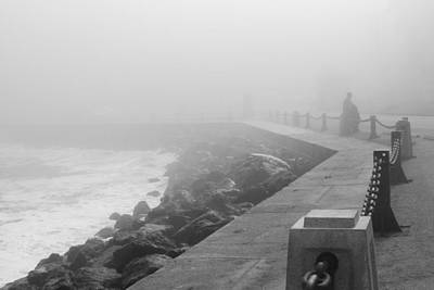Photograph - Man Waiting In Fog by Bonnie Follett