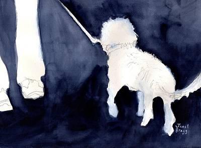 Painting - Man Walking His Dog 2.5 by Janel Bragg