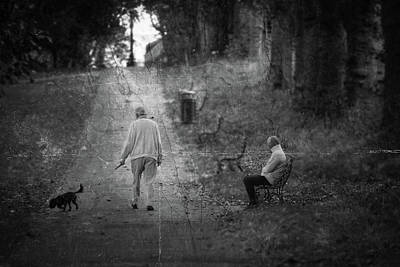 Photograph - Man Walking His Dog In The Park Fine Art by Jacek Wojnarowski