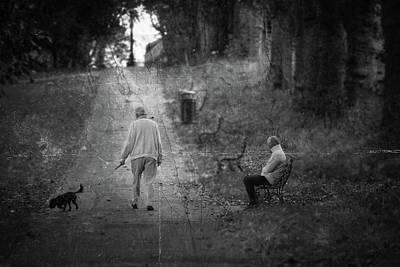 Photograph - Man Walking His Dog In The Park Fine Art by Jacek Wojnarowski