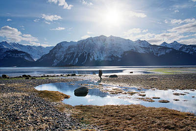 Photograph - Man Walking On Southeast Alaskan Beach by Michele Cornelius