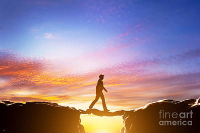 Man Walking Over Precipice Between Mountains And Another Man Being A Bridge Print by Michal Bednarek