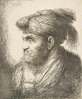 Relief - Man Wearing A Turban Facing Left by Giovanni Benedetto Castiglione
