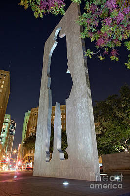 Photograph - Man With A Briefcase Sculpture, Ft. Worth, Texas by Greg Kopriva