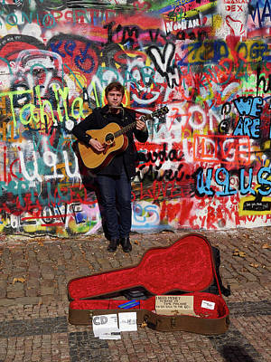 Photograph - Man With A Guitar By The Lennon Wall. Chrispy Cheeks. Mala Stra by Jouko Lehto