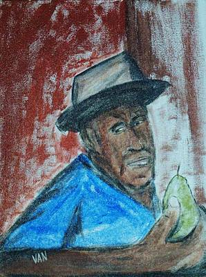 Man With A Pear Art Print by Van Winslow