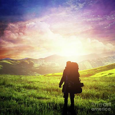 Photograph - Man With Backpack Trekking On Highlands. Fantastic Sunset Sky, Summer Adventure. by Michal Bednarek