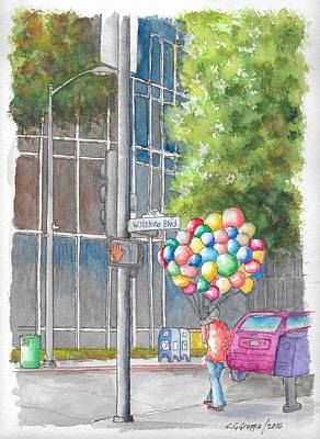 Painting - Man With Balloons In Wilshire Blvd., Beverly Hills, California by Carlos G Groppa