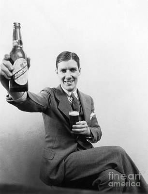 Man With Beer, C.1930s Art Print by H. Armstrong Roberts/ClassicStock