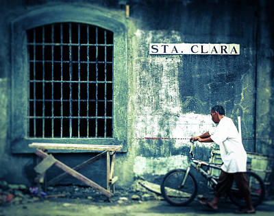 Photograph - Man With Bicycle In Manila, The Philippines by Carmen Tosca