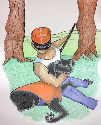 Drawing - Man With Dog by Loretta Nash