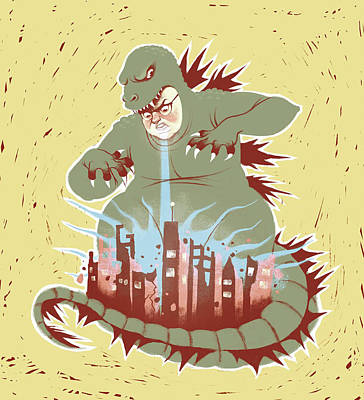 Drawing - Man With Dragon Costume Destroying City by Stephanie Pena