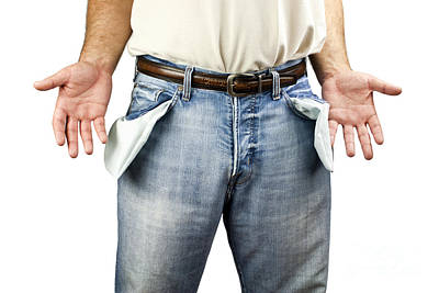 Debt Photograph - Man With Empty Pockets by Blink Images