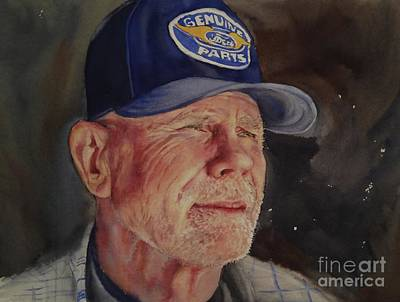 Painting - Man With Ford Cap by Kathy Flood