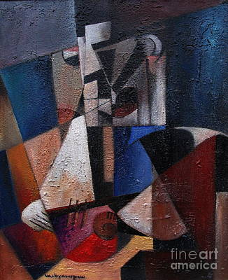 Painting - Man With Gitar by Val Byrne