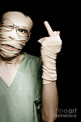 Bandage Photograph - Man With Head Trauma Giving Rude Finger To Accused by Jorgo Photography - Wall Art Gallery