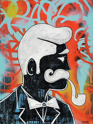 Spray Painting - Man With Pipe by Nicklos Richards