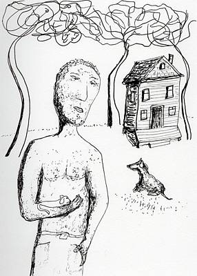 Drawing - Man With Puppy  by Jim Taylor