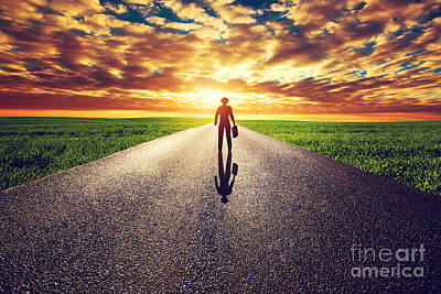 Future Photograph - Man With Suitcase And Hat On Long Straight Road Towards Sunset Sky by Michal Bednarek
