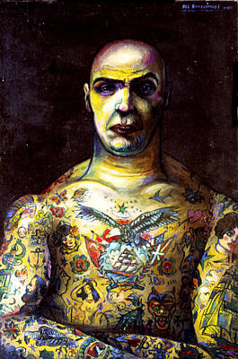 Roussimoff Wall Art - Painting - Man With Tattoos by Ari Roussimoff