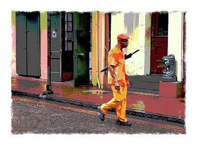 Digital Art - Man With Umbrella On Bourbon Street by Eduardo Tavares
