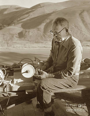 Photograph - Man Working On A Piece Of Botryoidal Jade From The Big Sur Coast by California Views Mr Pat Hathaway Archives