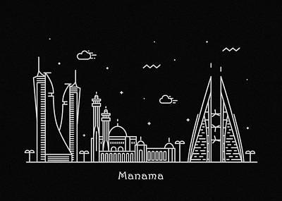 Skyline Drawing - Manama Skyline Travel Poster by Inspirowl Design