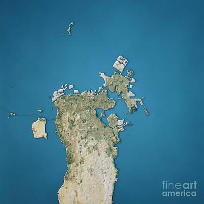 Manama Topographic Map Natural Color Top View Art Print