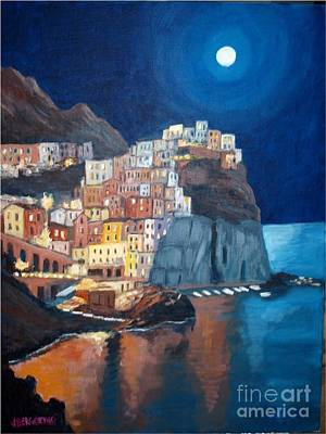 Painting - Manarola By Night, Italy by Jean Pierre Bergoeing