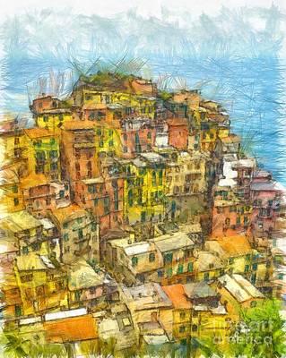 Manarola Cinque Terra City Pencil Art Print