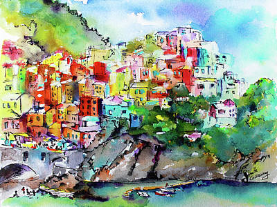 Painting - Manarola Cinque Terre Italy Colorful Watercolor by Ginette Callaway