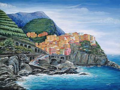 Fishing Village Painting - Manarola Cinque Terre Italy by Marilyn Dunlap