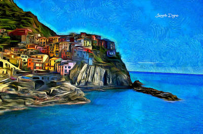 Place Painting - Manarola - Da by Leonardo Digenio