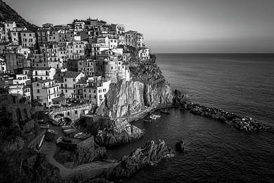 Fun Patterns - Manarola Dusk Cinque Terre Italy BW by Joan Carroll