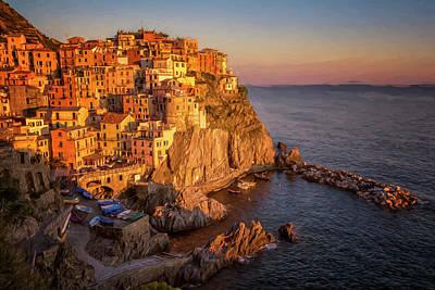 Manarola Photograph - Manarola Dusk Cinque Terre Italy Painterly by Joan Carroll