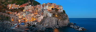 Photograph - Manarola In Cinque Terre Night Panorama by Songquan Deng