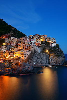 Photograph - Manarola In Cinque Terre Night by Songquan Deng