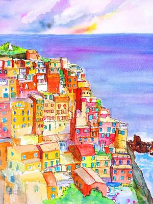 Painting - Manarola In The Cinque Terre Italy by Carlin Blahnik