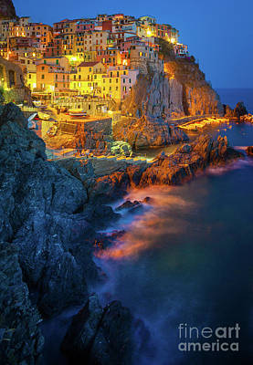 Cinque Terre Photograph - Manarola Lights by Inge Johnsson