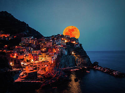 Photograph - Manarola Moonrise by Chris M