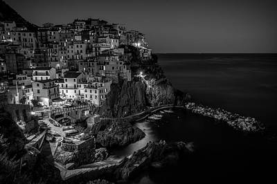 Photograph - Manarola Night Cinque Terre Italy Bw by Joan Carroll