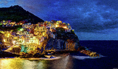 Digital Art - Manarola Night Cinque Terre by Weston Westmoreland